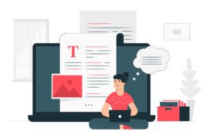 ilustração de um laptop com uma folha com texto na frente e uma mulher sentada