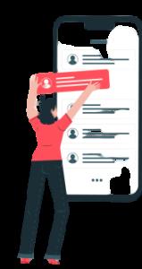 ilustração de uma mulher interagindo com um rank em uma tela de celular