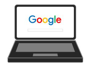 ilustração de um laptop com a página do Google aberta