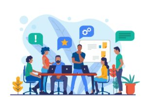 ilustração de um escritório com pessoas trabalhando