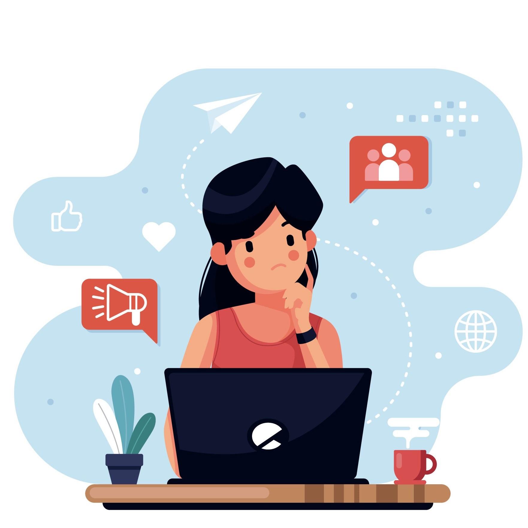 ilustração de uma mulher pensativa trabalhando em seu laptop sob uma escrivaninha