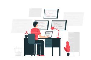ilustração de personagem com características masculinas sentado em uma escrivaninha interagindo com 4 telas um páginas de sites abertas