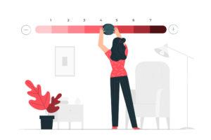 ilustração de mulher em uma régua manuseando uma espécie de régua de pontuação em uma parede