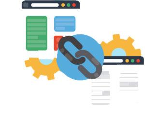 ilustração de duas páginas de um site conectadas pelo símbolo de link, como se fosse um elo de uma corrente, representando link building