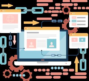 ilustração de uma página de um site em uma tela de computador com elementos de link building ao redor