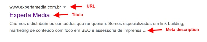 exemplo de snippet da Experta Media na SERP do Google