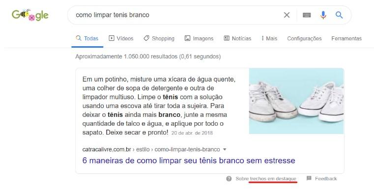 exemplo de trecho em destaque do Google