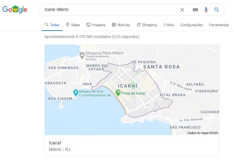 """exemplo de featured snippet resultado da busca por """"Icaraí Niterói"""""""