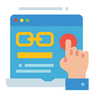 ilustração de uma mão tocando em uma tela de computador com uma página de site aberta