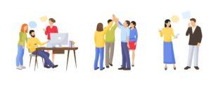 ilustração de 3 grupos de pessoas ilustrando nichos