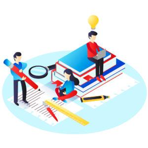 ilustração de pessoas interagindo com papel, lápis, livros e uma lupa, representando Principais elementos e definições