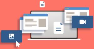 ilustração de uma tela de computador com páginas de site saindo da tela
