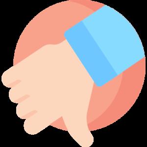 ilustração de uma mão com o polegar apontado para baixo, indicando um sinal negativo
