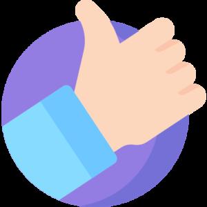 ilustração de uma mão fazendo sinal positivo
