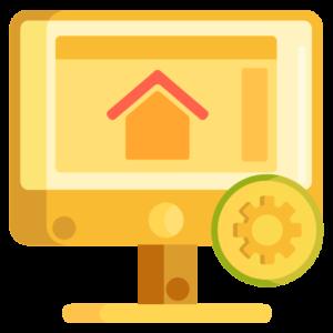 Ilustração de um computador de mesa com um símbolo de home page na tela e uma engrenagem ao lado