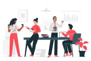 ilustração de pessoas interagindo em um escitório representando uma assessoria de imprensa