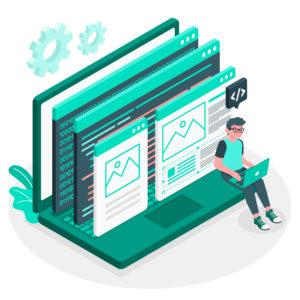 ilustração de um desenvolvedor e páginas de site com códigos na tela de um notebook