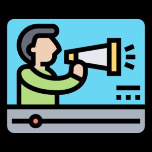 ilustração de um homem com um megafone na tela de um computador voz do especialista