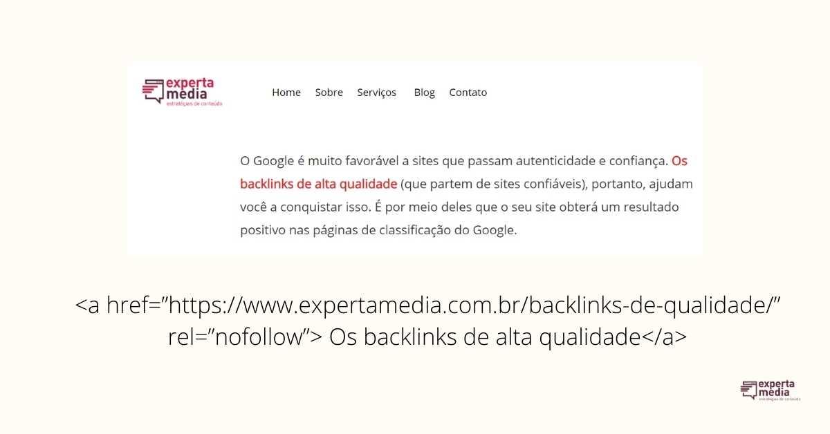 link nofollow exemplo no código HTML