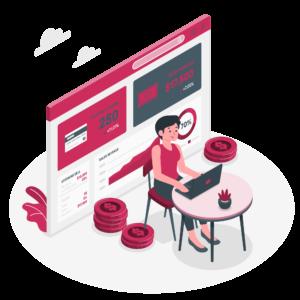 ilustração que representa uma mulher no computador envolvida com gastos