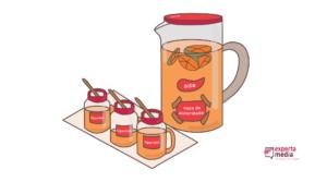 representação de link huice com jarra de suco e copos com tampa e canudinho