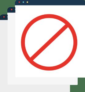 ilustração de uma página com sinal vermelho de proibido