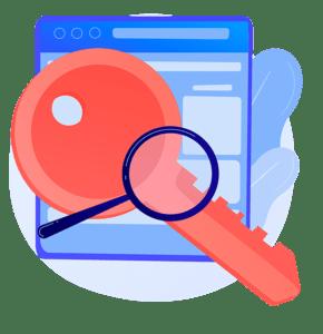 chave e lupa sob uma página de site