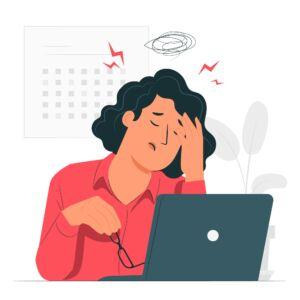 vetor de uma mulher preocupada em frente ao notebook