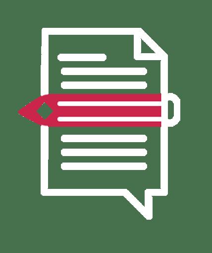 ícone de uma página escrita com um lápis