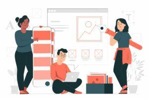 vetor equipe construindo página